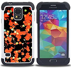 GIFT CHOICE / Defensor Cubierta de protección completa Flexible TPU Silicona + Duro PC Estuche protector Cáscara Funda Caso / Combo Case for Samsung Galaxy S5 V SM-G900 // Art Abstract Paper Orange Black //