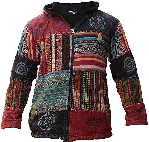 Shopoholic Moda Unisex Patchwork Festival Hippie Giacca Cappuccio