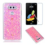 Fit for LG V20 Case with Screen Protector,OYIME Slim Rubber [Glitter Pink Sequins] Shiny Bling Luxury Design Scratch Resistant Protective Back Cover with Clear Transparent Bumper