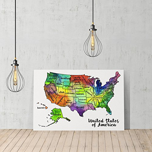 United States Map Colored States Names Canvas Print Decorative Art Modern Wall Décor Artwork Wrapped Wood Stretcher Bars Vertical- Ready to Hang – %10…