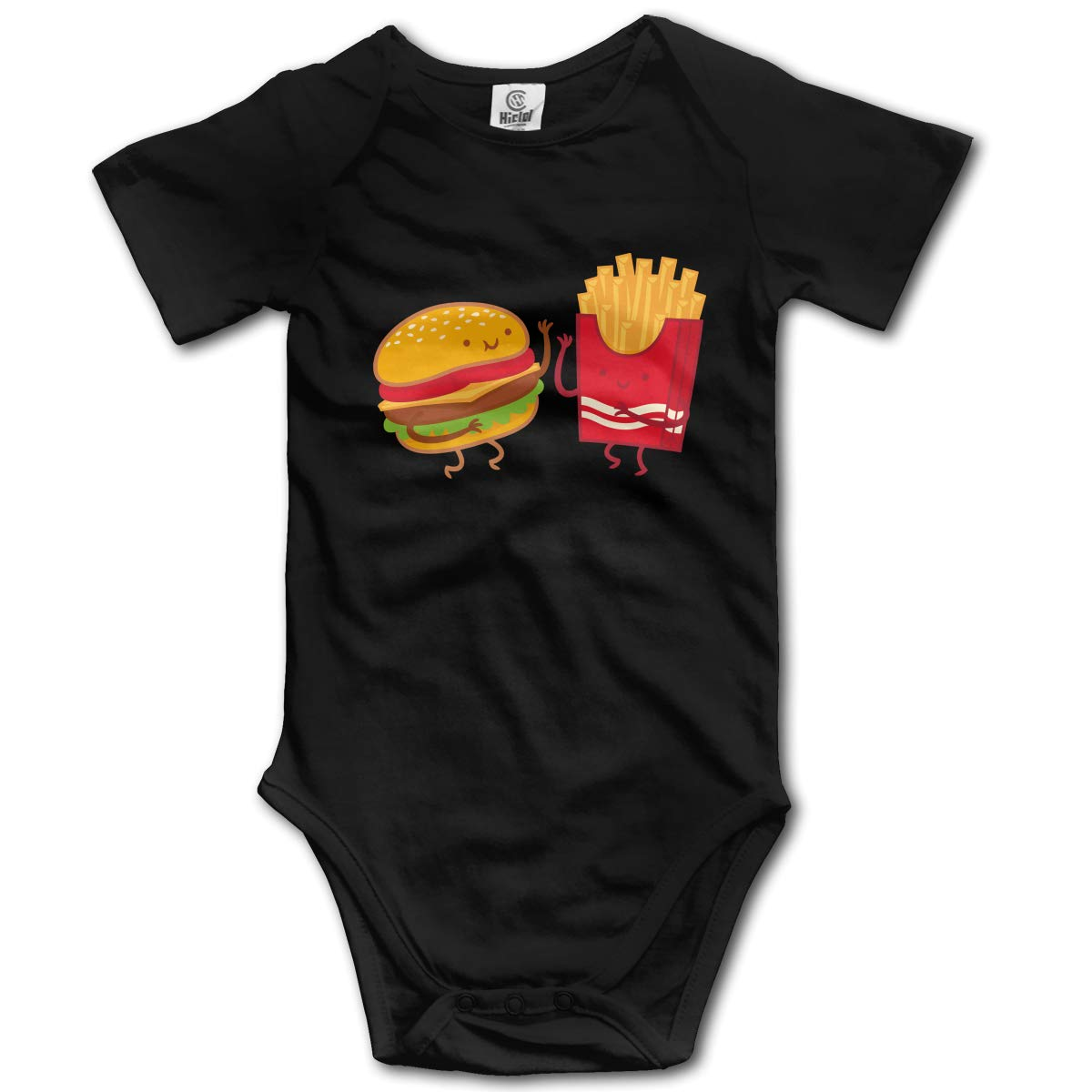 Unisex Solid Baby Short Sleeve Jumpsuit Outfit 0-2T CDHL99 Burger and Fries 2