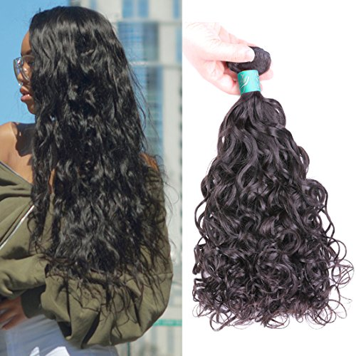 BLY Brazilian Natural Loose Wave Virgin Human Hair Wet and Wavy 3 Bundles Weft-8A Unprocessed Beach Wave Curly Hair Extensions Weave(16 18 20inches) (Best Hair Products For Brazilian Weave)