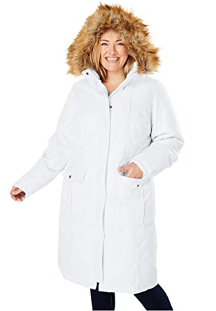 b69c60897f6 Woman Within Plus Size The Arctic Parka in Knee Length at Amazon Women s  Coats Shop