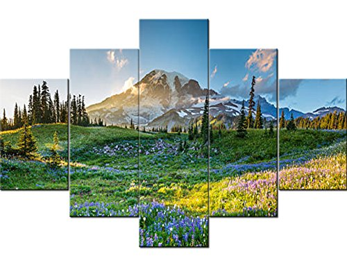 Native American Decor Mount Rainier Paintings Washington State,USA Landscape Pictures 5 Panel Canvas Wall Art Artwork Home Decora for Living Room Framed Gallery-Wrapped Ready to -