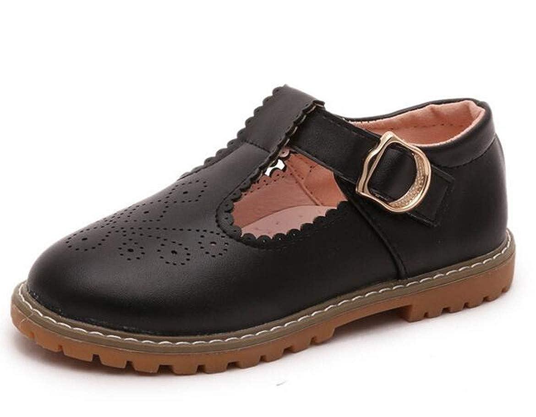 Bumud Girls T-Strap School Uniform Dress Shoe Cut Out Mary Jane Princess Flats