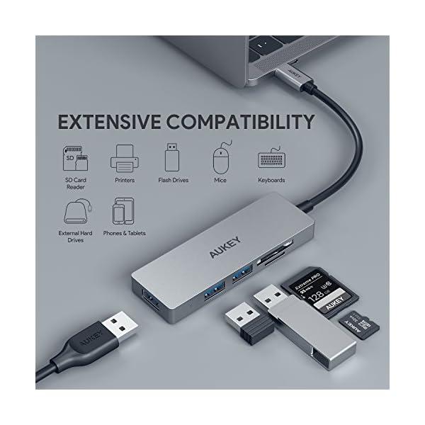 AUKEY Hub USB C con Lettore di Scheda SD e MicroSD,3 Porte USB 3.0 Adattatore USB C in Alluminio per MacBook PRO 2018… 2 spesavip