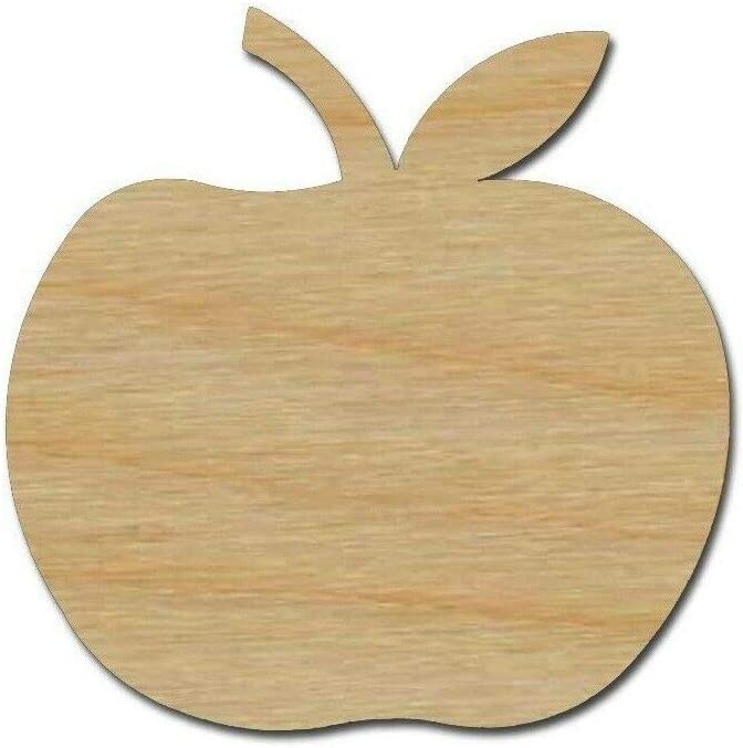 Apple Wood Shape Cut Out Unfinished Wooden Fruit Laser Cut Craft Supplies (10