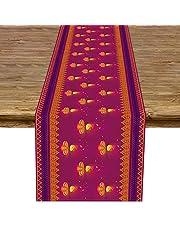 Linen 13x72'' Diwali Table Runner Indian Festival of Lights Decoration for Kitchen Dinning Room Decor