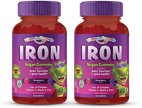 Vitamin Friends - Gummy Iron Supplements for Kids (60 Day) With B-Complex, Vitamin C, Zinc, Biotin - Iron Gummies Support Children Healthy Body Function and Iron Levels - Vegan, Organic, Allergen Free