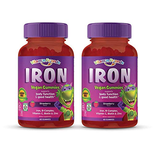 Vitamin Friends - Gummy Iron Supplements for Kids (60 Day) With B-Complex, Vitamin C, Zinc, Biotin - Iron Gummies Support Children Healthy Body Function and Iron Levels - Vegan, Organic, Allergen Free
