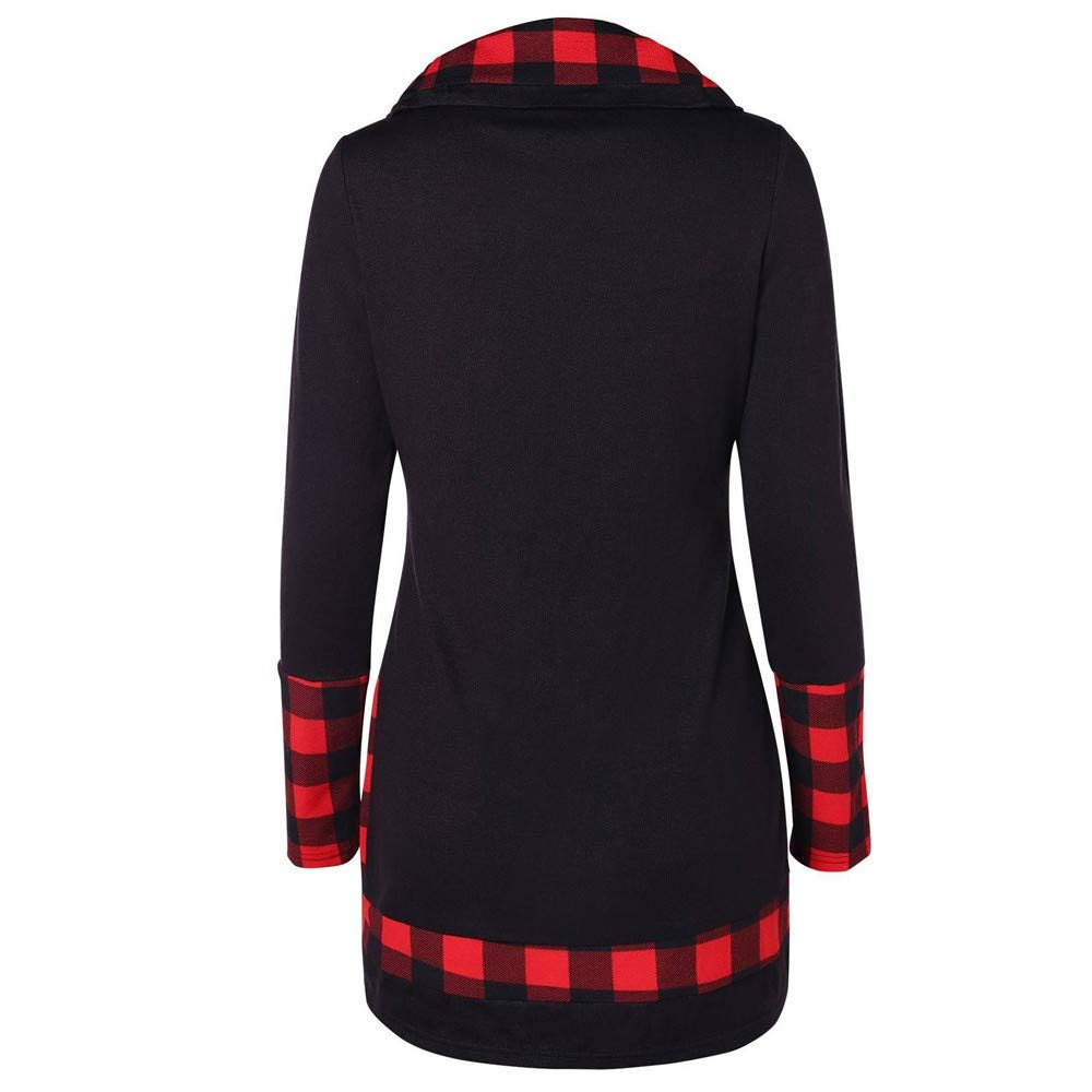 Womens Plaid Hoodie Cowl Neck Tunic Pullover,GridNN T-Shirt Long Sleeve Blouse Top Sweatshirts Pullover