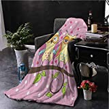 hengshu Owls Fluffy Blanket Microfiber Owls Love Valentines on Branch Polkadots Leaves Hearts Romance Queen Size Blanket Soft Warm W54 x L72 Inch Pale Pink Apple Green Pale Yellow