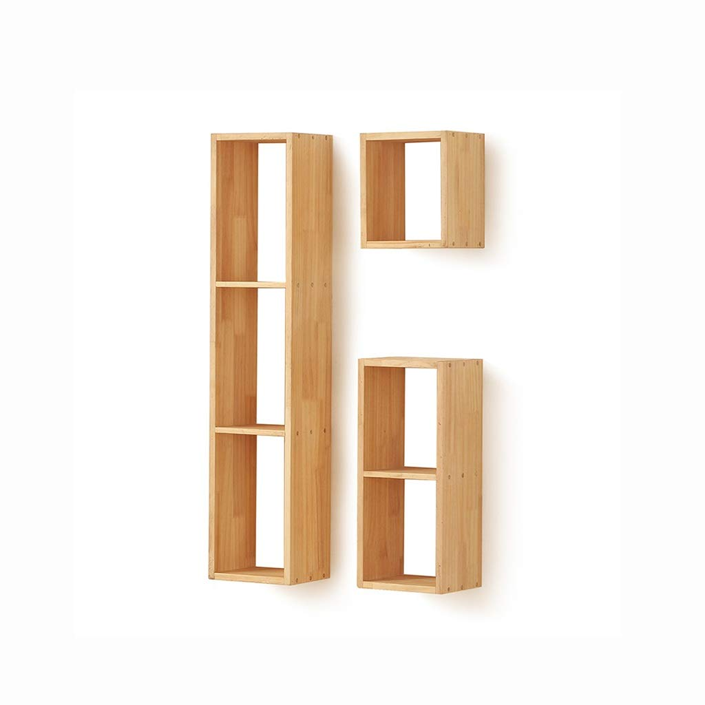 Shelf Hanging Shelf Wall Hanging Wooden Floating Storage Solid Wood Wall Hanging Rack Combination Living Room TV Background Wall Decorative Frame Simple and Modern Wall Hanging Lattice Partition