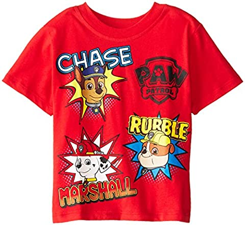 Paw Patrol Little Boys' Toddler Group T-Shirt, Red, 2T - Apparel