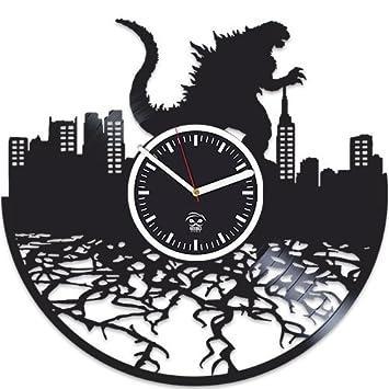 Kovides Godzilla Movies, Vinyl Wall Clock, Vinyl Record, Godzilla Clock, for Boy, Birthday Gift for Kids, Handmade Best Gift for Husband, Wall Clock Large