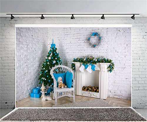 AOFOTO 7x5ft Decorated Christmas Tree Photography Background Interior Brick Wall Fireplace Backdrop Xmas Wreath New Year Present Kid Baby Girl Portrait Photoshoot Studio Props Video Drape Wallpaper - 5' Contemporary House