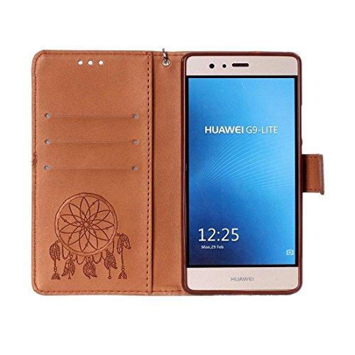 Huawei P9 Lite caso Crazy Horse Textura Dream Catcher de impresión horizontal Flip caja de cuero con titular y ranuras para tarjetas y billetera y cordón para el caso Huawei P9 Lite by diebelleu ( Col Brown