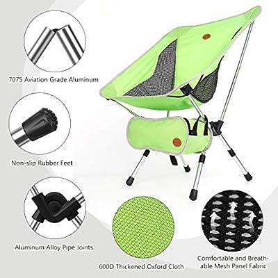 Awenia Silla de Camping Plegable con Bolsa Silla Portátil de Aluminio, Carga hasta 120 KG, para Playa/Senderismo/Caza/Pesca