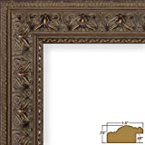 Craig Frames 9535 16 by 20-Inch Picture Frame, Antique Ornate Finish, 1.5-Inch Wide, Aged Mahogany