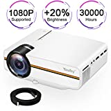 Movie projector,Yaufey(2018 Upgraded) Digital Portable Projector Home Theater Outdoor Overhead Projectors Support 1080P HDMI USB SD Card VGA AV Compatible with TV Laptop Xbox with Free HD Cable(White)
