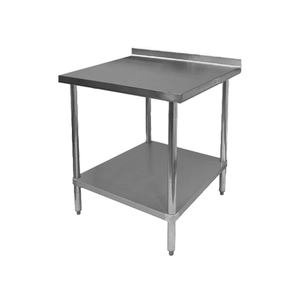 EquipmentBlvd Commercial Grade Stainless Steel Top Work Table with 1-1/2'' Backsplash for Restaurant, Home, Office, Kitchen or Garage, 24''W x 24''L x 35''H, ETL or NSF Certified.