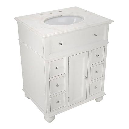 Hampton Bay 28u0026quot;w Single Bath Vanity With White Marble Top, WHITE MARBLE ,
