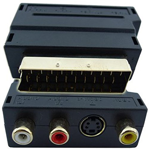 RGB Scart 20 Pin Male to 3 RCA AV Female + S Video Adapter Converter by Atomic Market