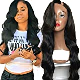 U Part Wigs Virgin Hair for Black Women Brazilian Loose Body Wave Upart Wigs Natural Color 16 Inch 150 Density