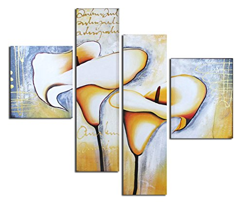 - Muzagroo Art Hand Painted Oil Paintings on Canvas Stretched Calla Lily Pictures for Bedroom