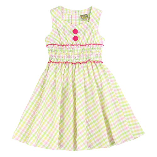 MARIA ELENA - Toddlers and Girls Gingham Classy Audrey A-Line Dress in Pastel Green 4T