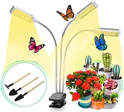 Grow Lights for Indoor Plants Full Spectrum LED Grow Light with Timer Plant Growing Lamps for Seedling Succulents with Adjustable Gooseneck Desk Clip On 3 Switch Modes 10 Brightness Setting Auto