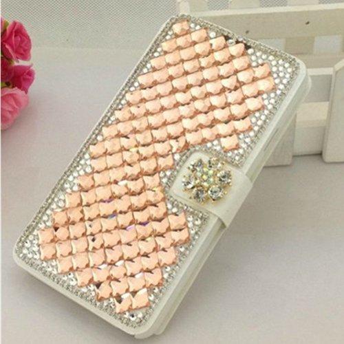 EVTECH(TM) Diamant Leder Strass Bling Tasche Flip Case Glitzer Book Wallet Hülle Cover Etui für Apple Iphone 6 (4.7 Zoll)