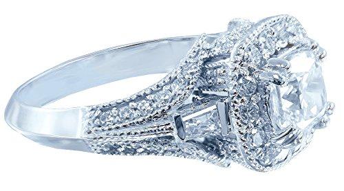 14K White Gold Cushion and Round Cut Diamond Engagement Ring Prong Set Art Deco Antique Style Filigree Bridal Wedding Halo 1.25ctw Available Sizes 3-12