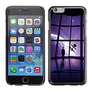 Qstar Arte & diseño plástico duro Fundas Cover Cubre Hard Case Cover para Apple iPhone 6(4.7 inches) ( Spaceship View Universe Earth Art Satellite Future)