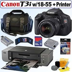 Canon EOS Rebel T3i 18 MP CMOS Digital SLR Camera with EF-S 18-55mm f/3.5-5.6 IS II Zoom Lens + Canon PIXMA Pro9000 Mark II Inkjet Photo Printer + 16GB Accessory Kit