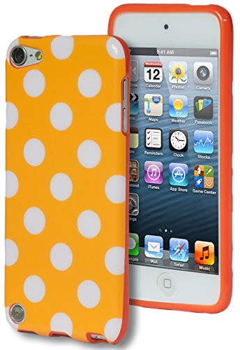 iPod Touch 5 Case, Bastex Orange & White Polka Dot Flex TPU Case Cover for Apple iPod Touch 5**INCLUDES SCREEN PROTECTOR AND STYLUS** [Compatible with iPod Touch 5]