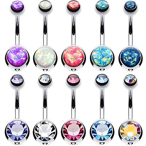 BodyJ4You 10PC Belly Button Ring CZ Created-Opal Surgical Steel 14G Navel Body Piercing Jewelry