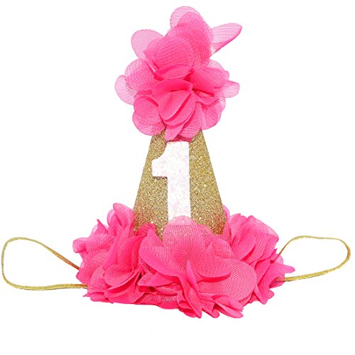 (Sparkly Baby First Birthday Cone Hat With Blush Chiffon Embellished Flowers For Cake Smash (Pink))