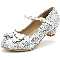 Girl's Glitter Sparkling Dress Shoes Low Medium Heel Pumps Bow Mary Jane Pageant