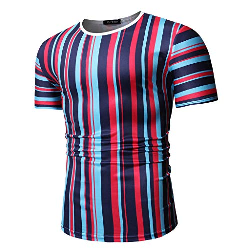 Mens Casual Stripe Patchwork Short SleevedSlim Fit T Shirts Top Blouse (M, Red) by chuxin huang (Image #2)