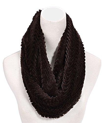 Best Plush Coffee Brown Infinity Faux Fur Furry Scarf Cute Snuggly Warm Prime Soft Scarves Unique Happy Holiday Christmas Gift Idea Under 25 Dollar for Sale Women Young Ladies Her Mom Mommy 2018 ()