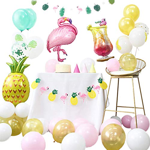 Summer Tropical Theme Party Decoration Kit Flamingo Glass Pineapple Balloons Garland Banners White Yellow Pink Green Latex Balloons for Baby Shower Birthday Hawaiian Luau Beach Party Decor (Colorful) -
