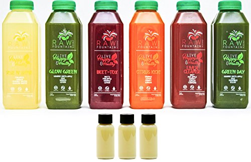 7 Day Juice Cleanse by Raw Fountain Juice - 100% Fresh Natural Organic Raw Vegetable & Fruit Juices - Detox Your Body in a Healthy & Tasty Way! - 42 Bottles (16 fl oz) + 7 BONUS Ginger Shots by Raw Threads