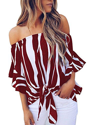 Women Striped Off Shoulder Boat Neck Bell Sleeve Shirt Tie Knot Casual Blouses Tops Wine Red Striped