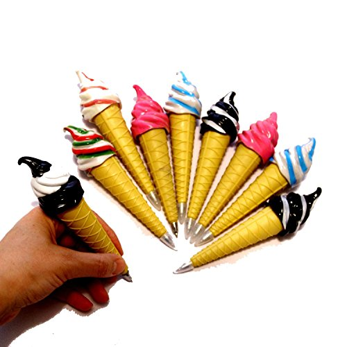 Assorted Magnetic Ice Cream Cone Writing Pens for Kids Pack of 12 - Cool Multicolor Pens for Kids Party Favor   Birthday Party Fun Novelty Pens 12 Pk. School Supplies (Ice Cream Novelties)