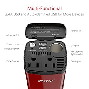 BESTEK 200W Car Power Inverter with 2 AC Outlets and 4.5A Dual USB Charging Ports Car Adapter with Car Cigarette Lighter Socket
