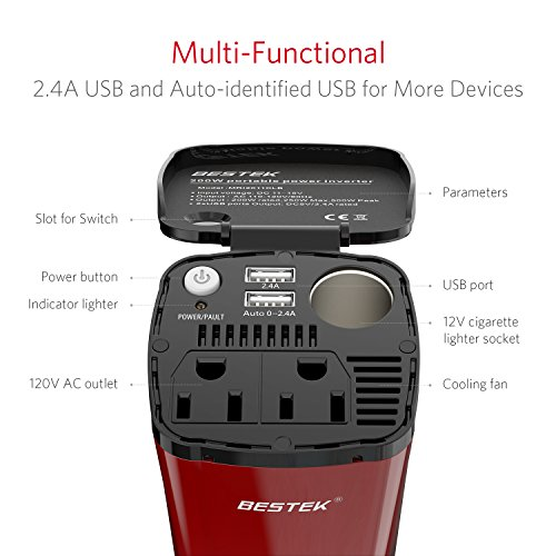 BESTEK Power Inverter Cup 12V DC To 110V AC With USB Ports Cigarette Lighter Socket And 2 AC Outlets