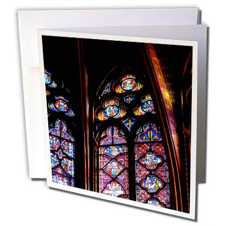 3dRose Elysium Photography - Architecture - Stained Glass in La Sainte-Chapelle, Paris - 6 Greeting Cards with envelopes (gc_289632_1)