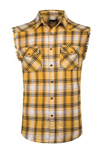 (NUTEXROL Men's Casual Flannel Plaid Shirt Sleeveless Cotton Plus Size Vest Yellow S)