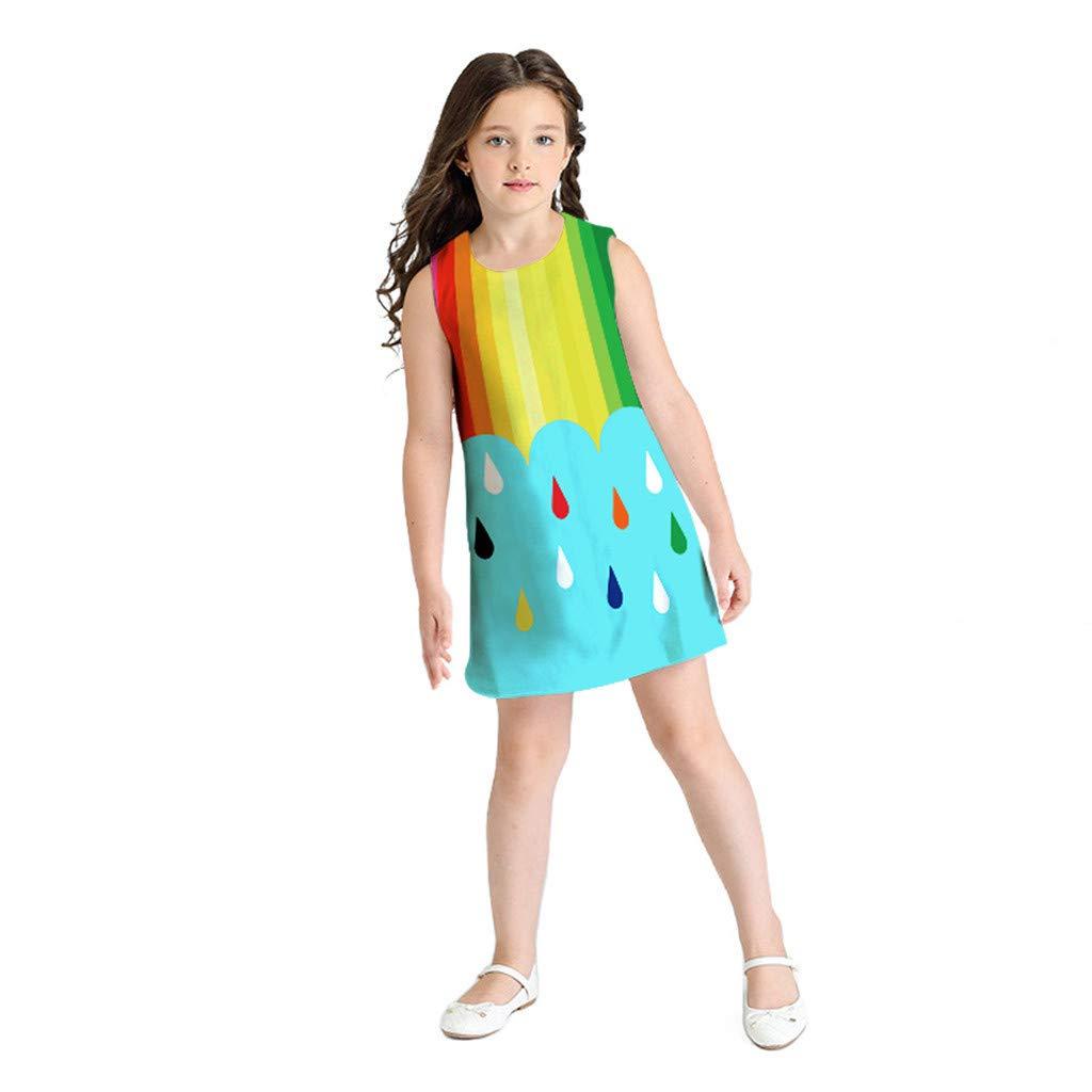 Sunnywill Robe de Fille de b/éb/é Adolescent Enfant en Bas /âge Enfant de Fille sans Manches 3D Bande dessin/ée Imprimer Robe de Bande dessin/ée V/êtements d/écontract/és